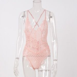Just Like Friday Pants - Last 1! HP Happy Love Sexy Peach Lace Bodysuit